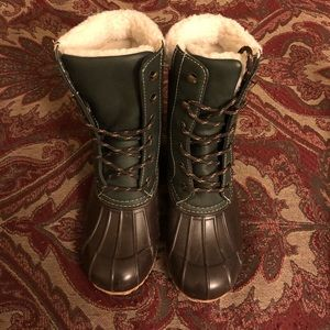 Green and Brown Snow Boots
